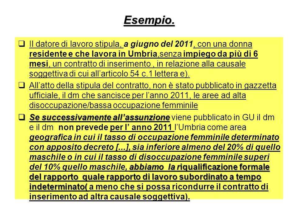Esempio. Il datore di lavoro stipula, a giugno del 2011, con una donna residente e che lavora in Umbria,senza impiego da più di 6 mesi, un contratto d
