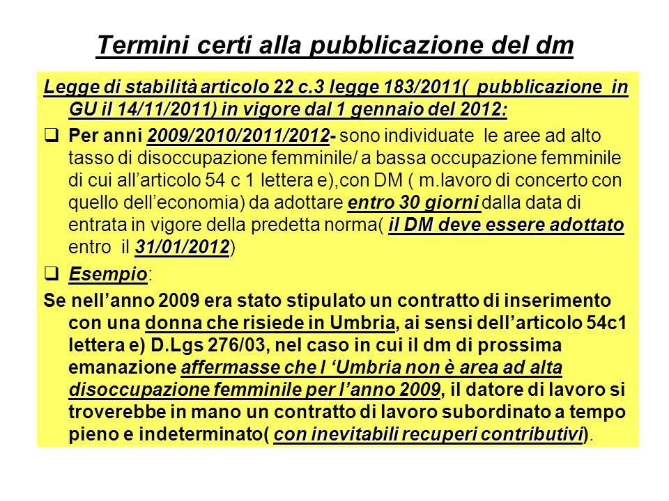 Termini certi alla pubblicazione del dm Legge di stabilità articolo 22 c.3 legge 183/2011( pubblicazione in GU il 14/11/2011) in vigore dal 1 gennaio del 2012: 2009/2010/2011/2012 il DM deve essere adottato 31/01/2012 Per anni 2009/2010/2011/2012- sono individuate le aree ad alto tasso di disoccupazione femminile/ a bassa occupazione femminile di cui allarticolo 54 c 1 lettera e),con DM ( m.lavoro di concerto con quello delleconomia) da adottare entro 30 giorni dalla data di entrata in vigore della predetta norma( il DM deve essere adottato entro il 31/01/2012) Esempio: con inevitabili recuperi contributivi Se nellanno 2009 era stato stipulato un contratto di inserimento con una donna che risiede in Umbria, ai sensi dellarticolo 54c1 lettera e) D.Lgs 276/03, nel caso in cui il dm di prossima emanazione affermasse che l Umbria non è area ad alta disoccupazione femminile per lanno 2009, il datore di lavoro si troverebbe in mano un contratto di lavoro subordinato a tempo pieno e indeterminato( con inevitabili recuperi contributivi).