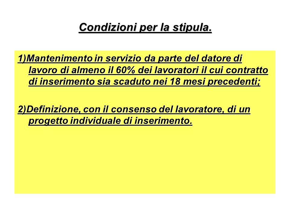 Condizioni per la stipula. 1)Mantenimento in servizio da parte del datore di lavoro di almeno il 60% dei lavoratori il cui contratto di inserimento si