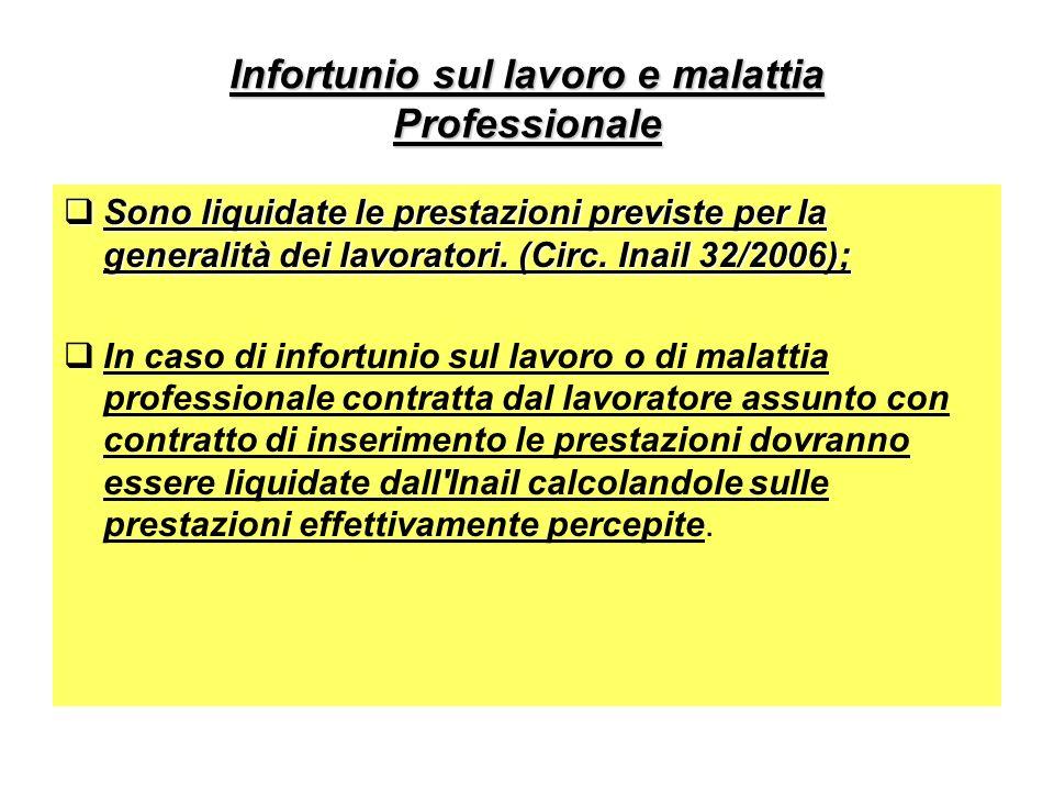 Infortunio sul lavoro e malattia Professionale Sono liquidate le prestazioni previste per la generalità dei lavoratori.