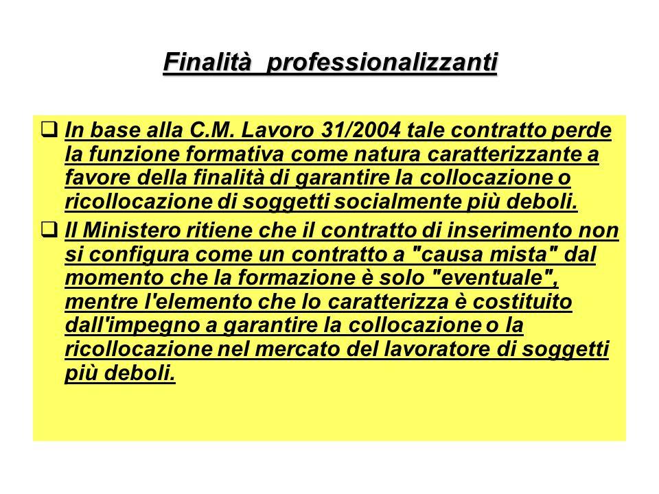 Finalità professionalizzanti In base alla C.M. Lavoro 31/2004 tale contratto perde la funzione formativa come natura caratterizzante a favore della fi