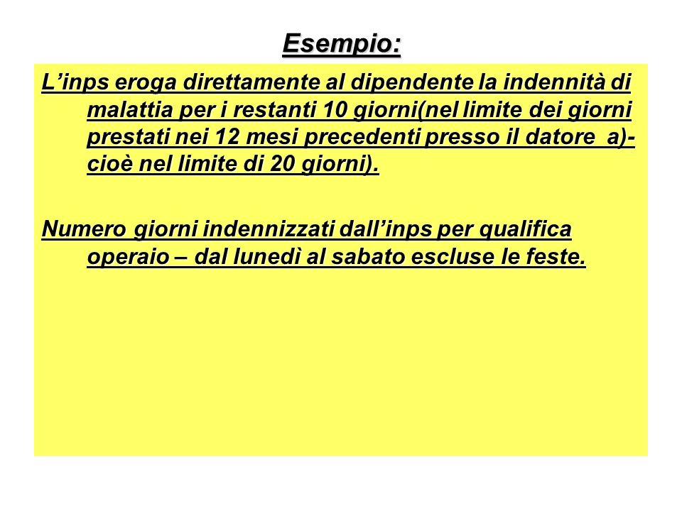 Esempio: Linps eroga direttamente al dipendente la indennità di malattia per i restanti 10 giorni(nel limite dei giorni prestati nei 12 mesi precedenti presso il datore a)- cioè nel limite di 20 giorni).