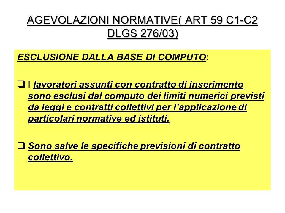 AGEVOLAZIONI NORMATIVE( ART 59 C1-C2 DLGS 276/03) ESCLUSIONE DALLA BASE DI COMPUTO: lavoratori assunti con contratto di inserimento sono esclusi dal c