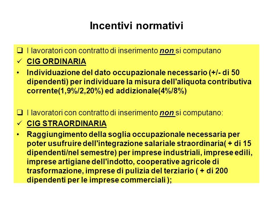 Incentivi normativi non I lavoratori con contratto di inserimento non si computano CIG ORDINARIA Individuazione del dato occupazionale necessario (+/- di 50 dipendenti) per individuare la misura dell aliquota contributiva corrente(1,9%/2,20%) ed addizionale(4%/8%) non I lavoratori con contratto di inserimento non si computano: CIG STRAORDINARIA Raggiungimento della soglia occupazionale necessaria per poter usufruire dell integrazione salariale straordinaria( + di 15 dipendenti/nel semestre) per imprese industriali, imprese edili, imprese artigiane dell indotto, cooperative agricole di trasformazione, imprese di pulizia del terziario ( + di 200 dipendenti per le imprese commerciali );