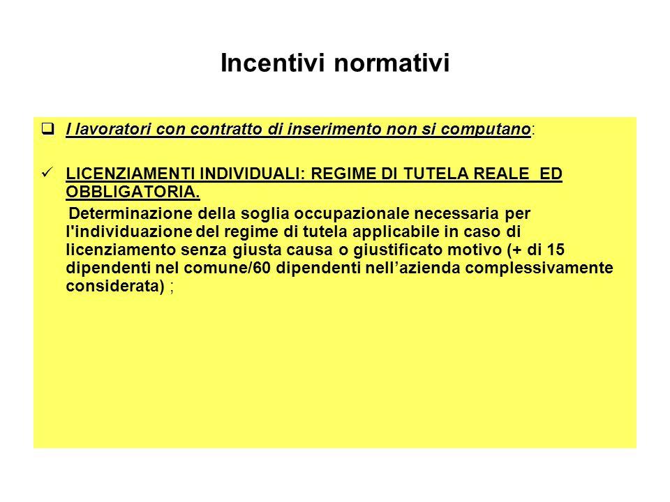 Incentivi normativi I lavoratori con contratto di inserimento non si computano I lavoratori con contratto di inserimento non si computano: LICENZIAMEN