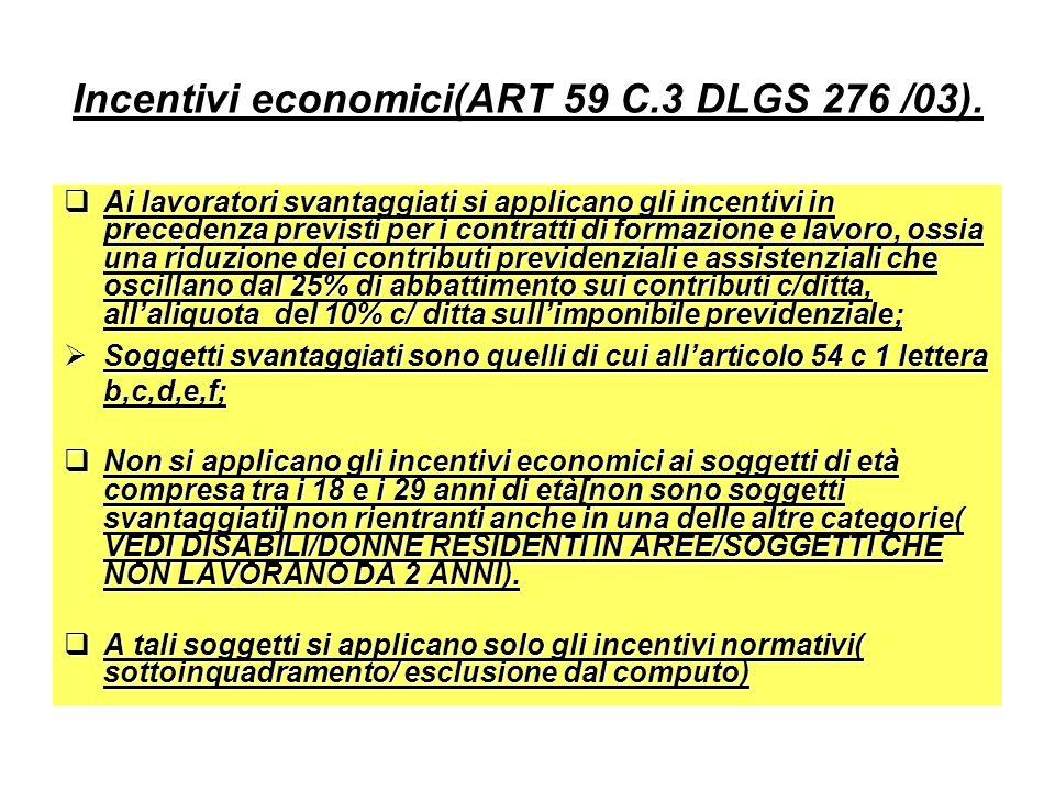 Incentivi economici(ART 59 C.3 DLGS 276 /03). Ai lavoratori svantaggiati si applicano gli incentivi in precedenza previsti per i contratti di formazio