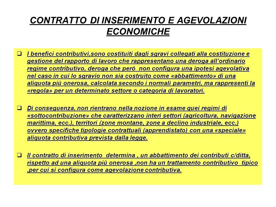 CONTRATTO DI INSERIMENTO E AGEVOLAZIONI ECONOMICHE I benefici contributivi,sono costituiti dagli sgravi collegati alla costituzione e gestione del rap