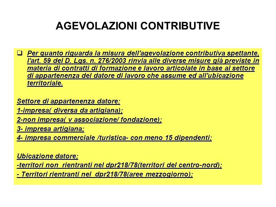 AGEVOLAZIONI CONTRIBUTIVE Per quanto riguarda la misura dell'agevolazione contributiva spettante, l'art. 59 del D. Lgs. n. 276/2003 rinvia alle divers