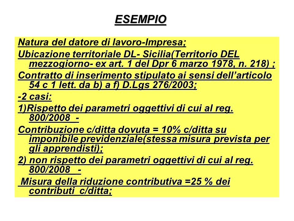 ESEMPIO Natura del datore di lavoro-Impresa; Ubicazione territoriale DL- Sicilia(Territorio DEL mezzogiorno- ex art. 1 del Dpr 6 marzo 1978, n. 218) ;