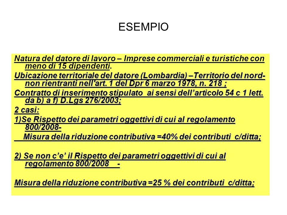 ESEMPIO Natura del datore di lavoro – Imprese commerciali e turistiche con meno di 15 dipendenti. Ubicazione territoriale del datore (Lombardia) –Terr