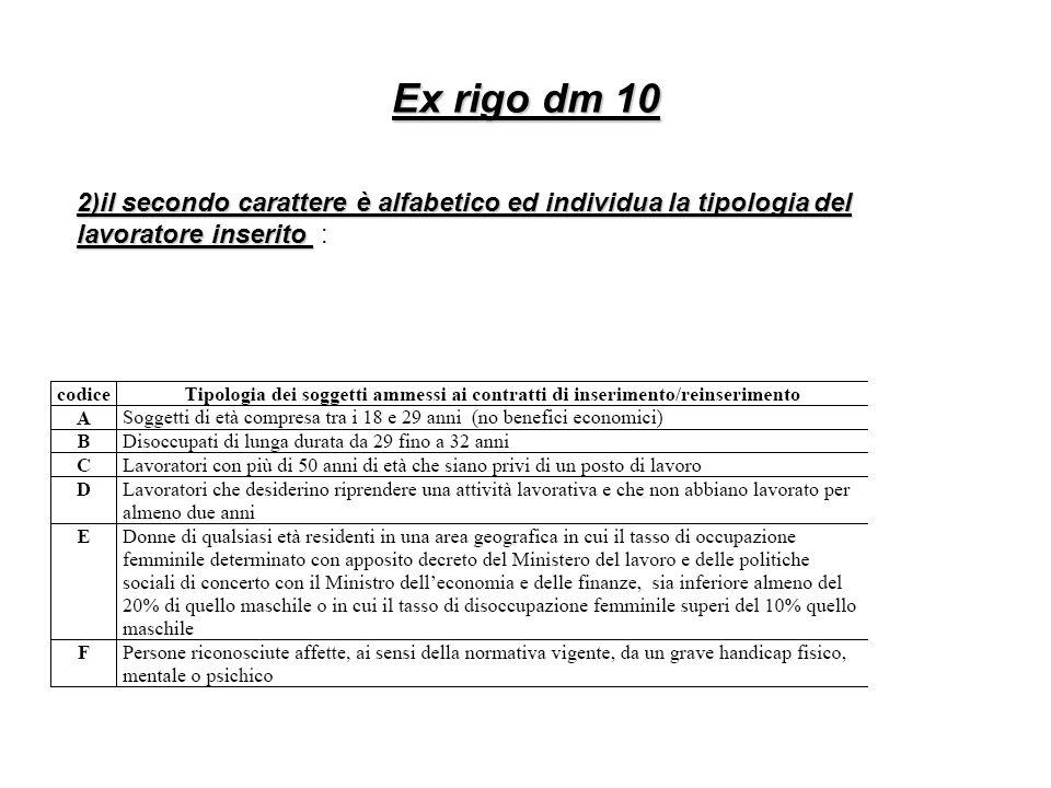 Ex rigo dm 10 2)il secondo carattere è alfabetico ed individua la tipologia del lavoratore inserito 2)il secondo carattere è alfabetico ed individua l