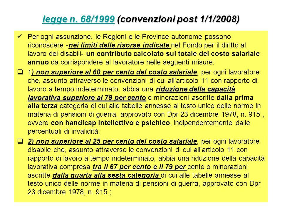 legge n. 68/1999legge n. 68/1999 (convenzioni post 1/1/2008) legge n. 68/1999 Per ogni assunzione, le Regioni e le Province autonome possono riconosce