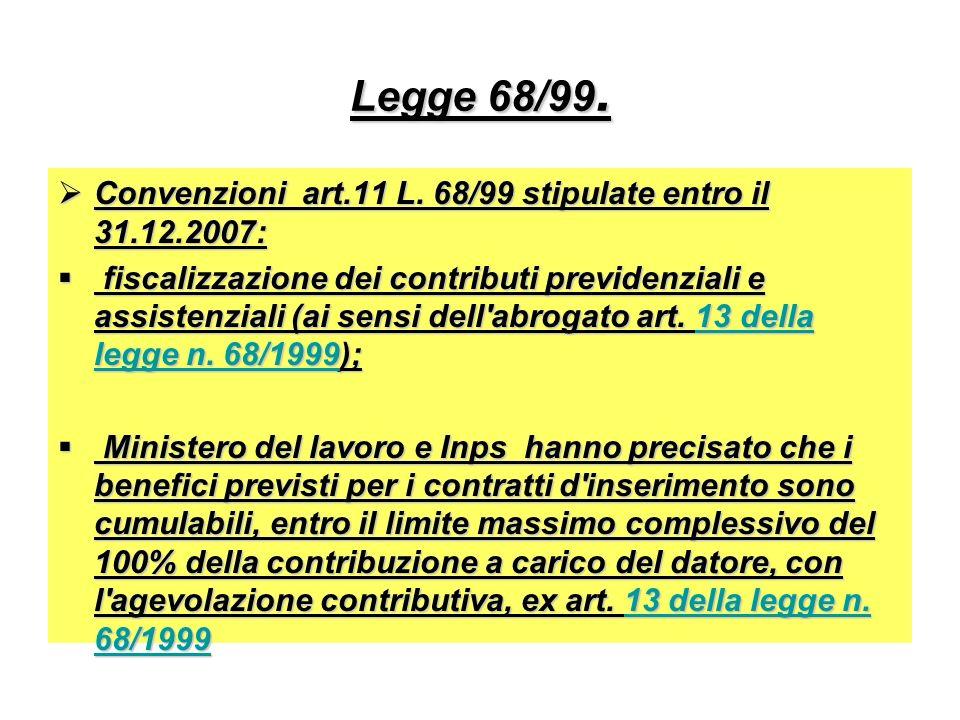 Legge 68/99. Convenzioni art.11 L. 68/99 stipulate entro il 31.12.2007: Convenzioni art.11 L. 68/99 stipulate entro il 31.12.2007: fiscalizzazione dei