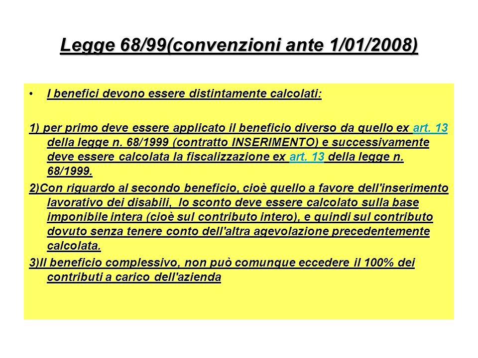 Legge 68/99(convenzioni ante 1/01/2008) I benefici devono essere distintamente calcolati:I benefici devono essere distintamente calcolati: 1) per primo deve essere applicato il beneficio diverso da quello ex art.