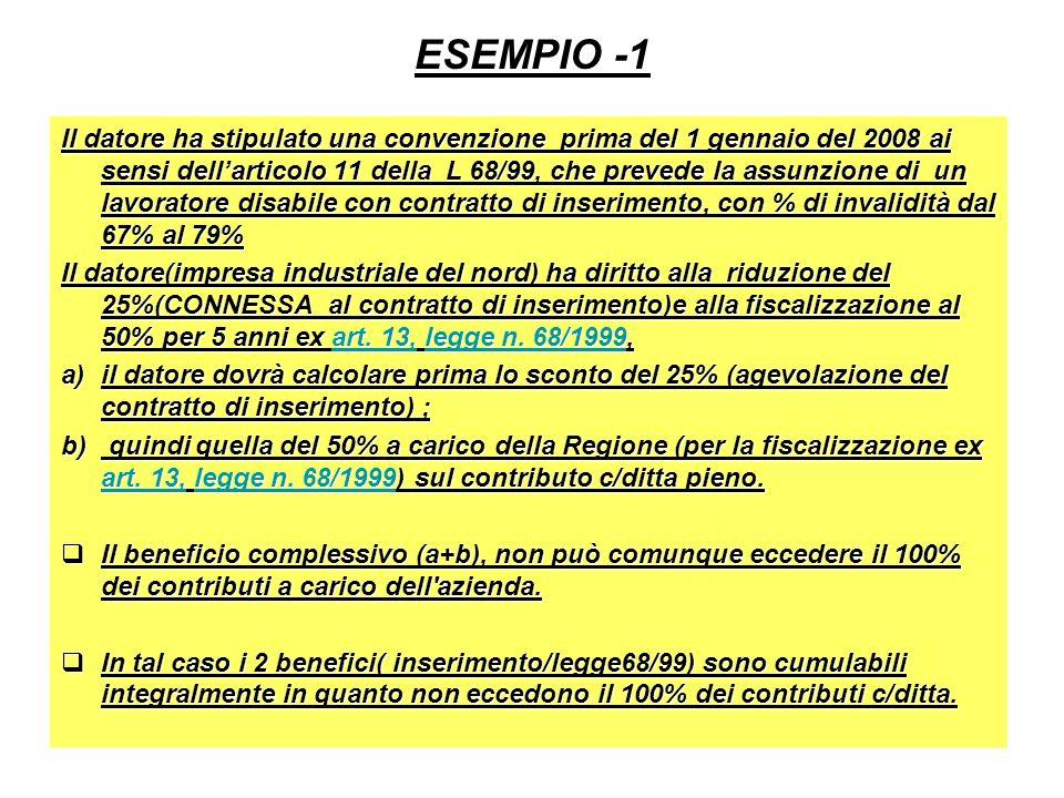ESEMPIO -1 Il datore ha stipulato una convenzione prima del 1 gennaio del 2008 ai sensi dellarticolo 11 della L 68/99, che prevede la assunzione di un lavoratore disabile con contratto di inserimento, con % di invalidità dal 67% al 79% Il datore(impresa industriale del nord) ha diritto alla riduzione del 25%(CONNESSA al contratto di inserimento)e alla fiscalizzazione al 50% per 5 anni ex art.