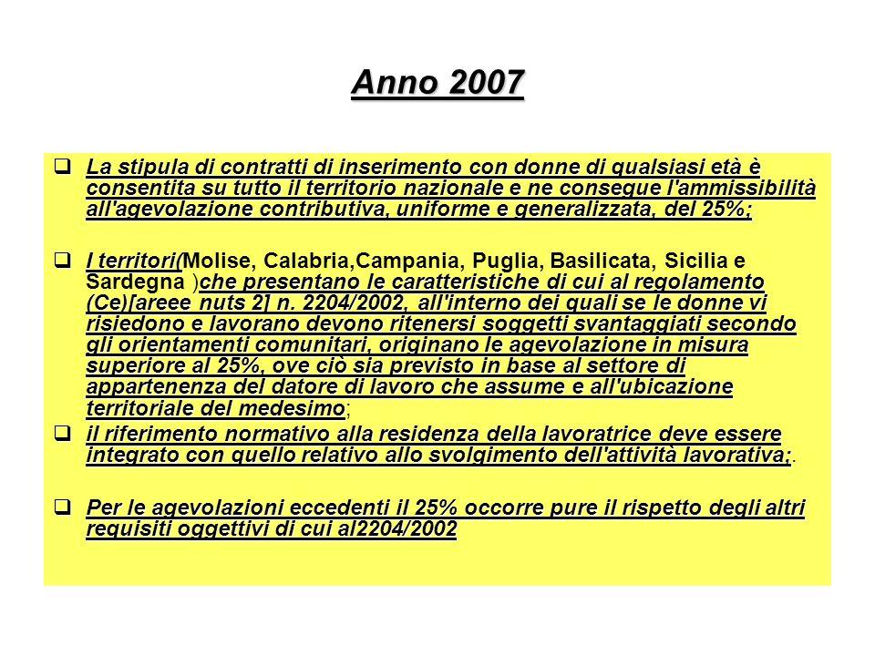 Anno 2007 La stipula di contratti di inserimento con donne di qualsiasi età è consentita su tutto il territorio nazionale e ne consegue l'ammissibilit