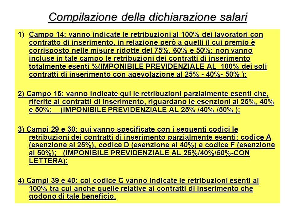Compilazione della dichiarazione salari 1)Campo 14: vanno indicate le retribuzioni al 100% dei lavoratori con contratto di inserimento, in relazione p