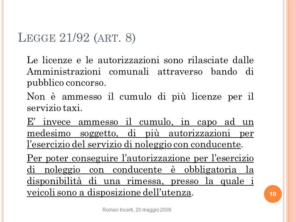 L EGGE 21/92 ( ART. 8) Le licenze e le autorizzazioni sono rilasciate dalle Amministrazioni comunali attraverso bando di pubblico concorso. Non è amme