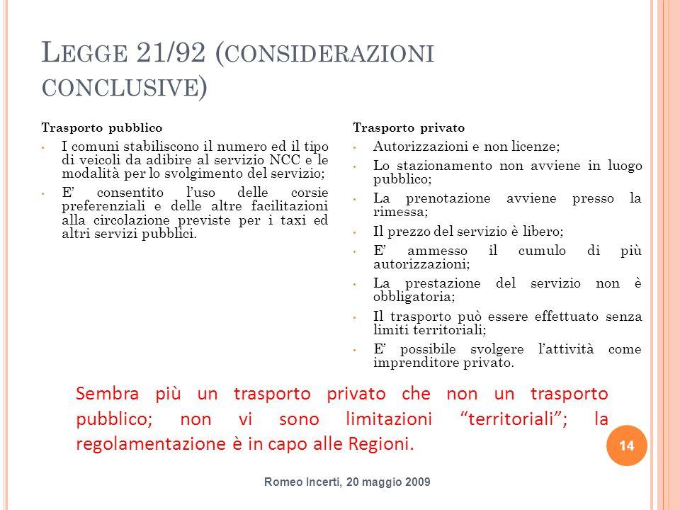 L EGGE 21/92 ( CONSIDERAZIONI CONCLUSIVE ) Trasporto pubblico I comuni stabiliscono il numero ed il tipo di veicoli da adibire al servizio NCC e le mo