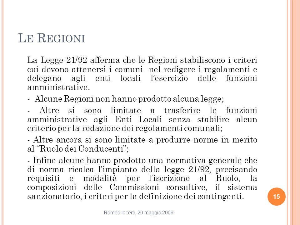 L E R EGIONI La Legge 21/92 afferma che le Regioni stabiliscono i criteri cui devono attenersi i comuni nel redigere i regolamenti e delegano agli ent