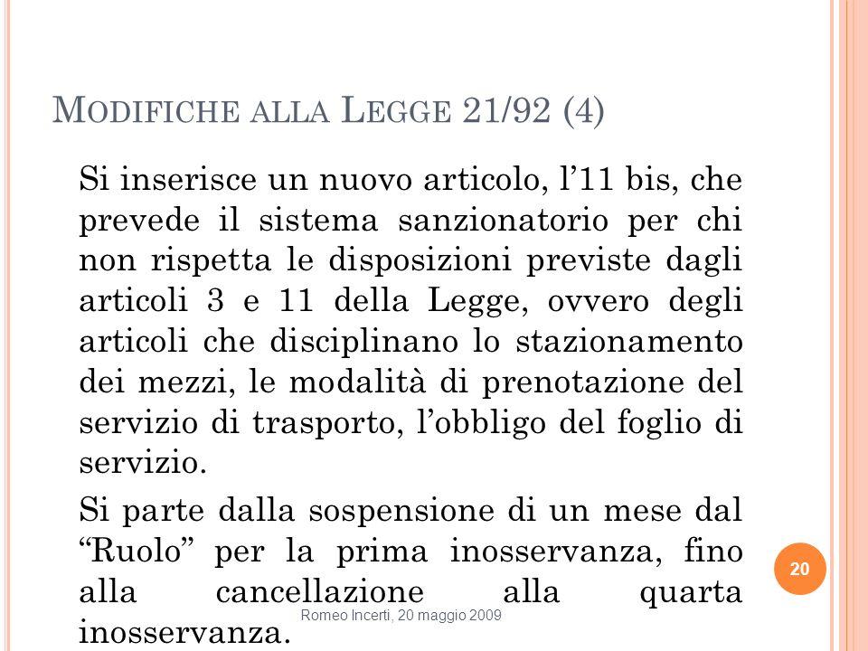 M ODIFICHE ALLA L EGGE 21/92 (4) Si inserisce un nuovo articolo, l11 bis, che prevede il sistema sanzionatorio per chi non rispetta le disposizioni pr