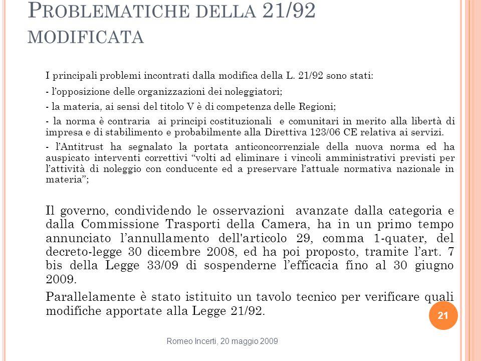 P ROBLEMATICHE DELLA 21/92 MODIFICATA I principali problemi incontrati dalla modifica della L. 21/92 sono stati: - lopposizione delle organizzazioni d