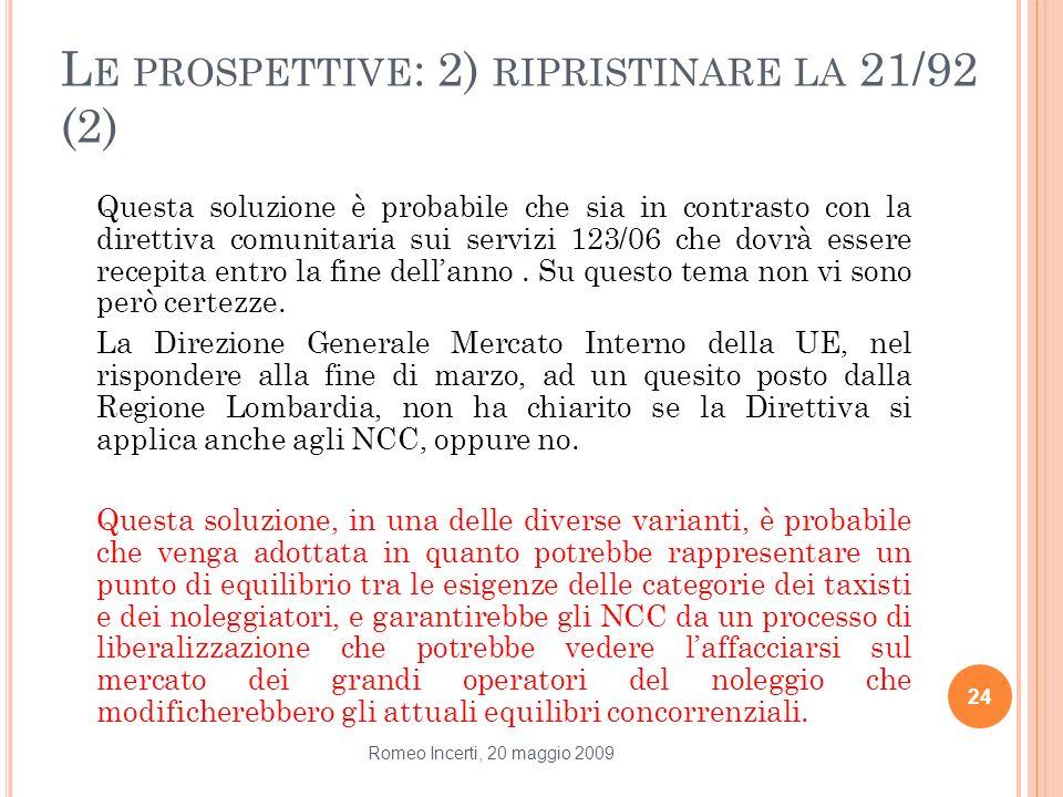 L E PROSPETTIVE : 2) RIPRISTINARE LA 21/92 (2) Questa soluzione è probabile che sia in contrasto con la direttiva comunitaria sui servizi 123/06 che d