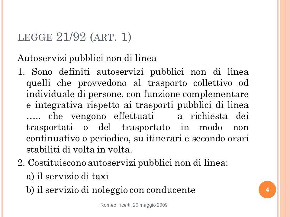 LEGGE 21/92 ( ART. 1) Autoservizi pubblici non di linea 1. Sono definiti autoservizi pubblici non di linea quelli che provvedono al trasporto colletti