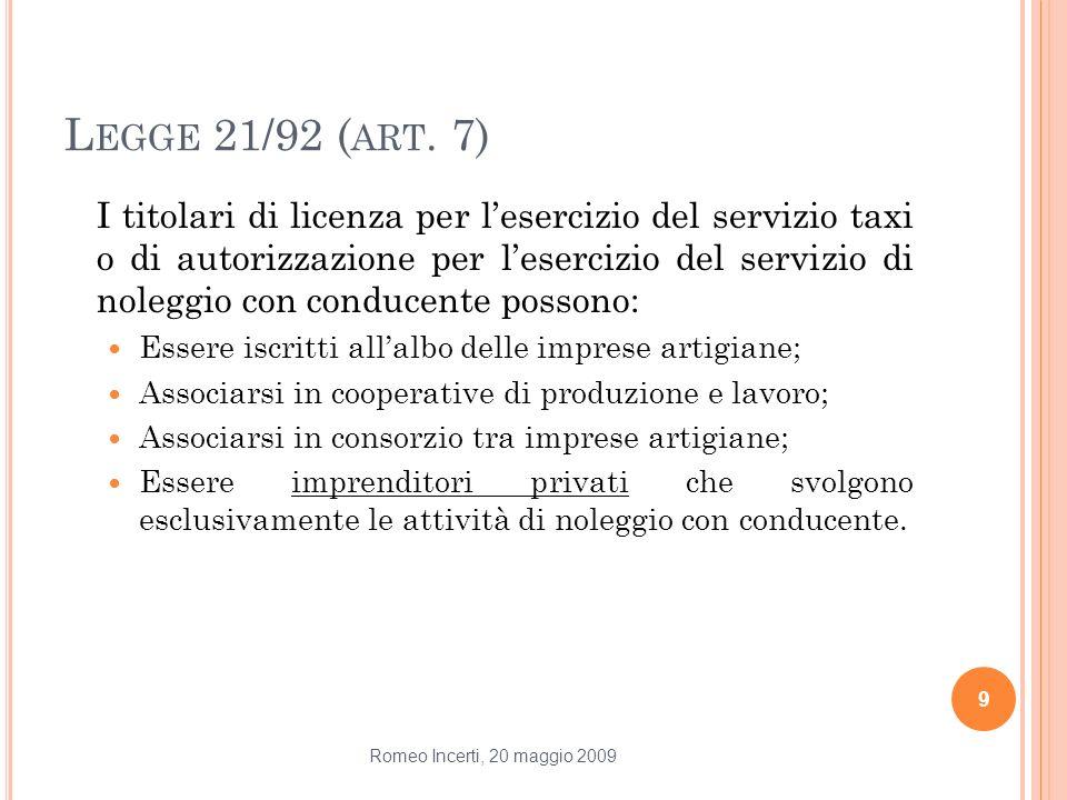 L EGGE 21/92 ( ART. 7) I titolari di licenza per lesercizio del servizio taxi o di autorizzazione per lesercizio del servizio di noleggio con conducen