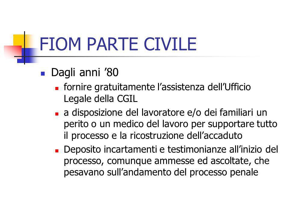 FIOM PARTE CIVILE Dagli anni 80 fornire gratuitamente lassistenza dellUfficio Legale della CGIL a disposizione del lavoratore e/o dei familiari un per