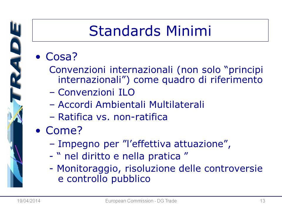 19/04/2014European Commission - DG Trade13 Standards Minimi Cosa? Convenzioni internazionali (non solo principi internazionali) come quadro di riferim
