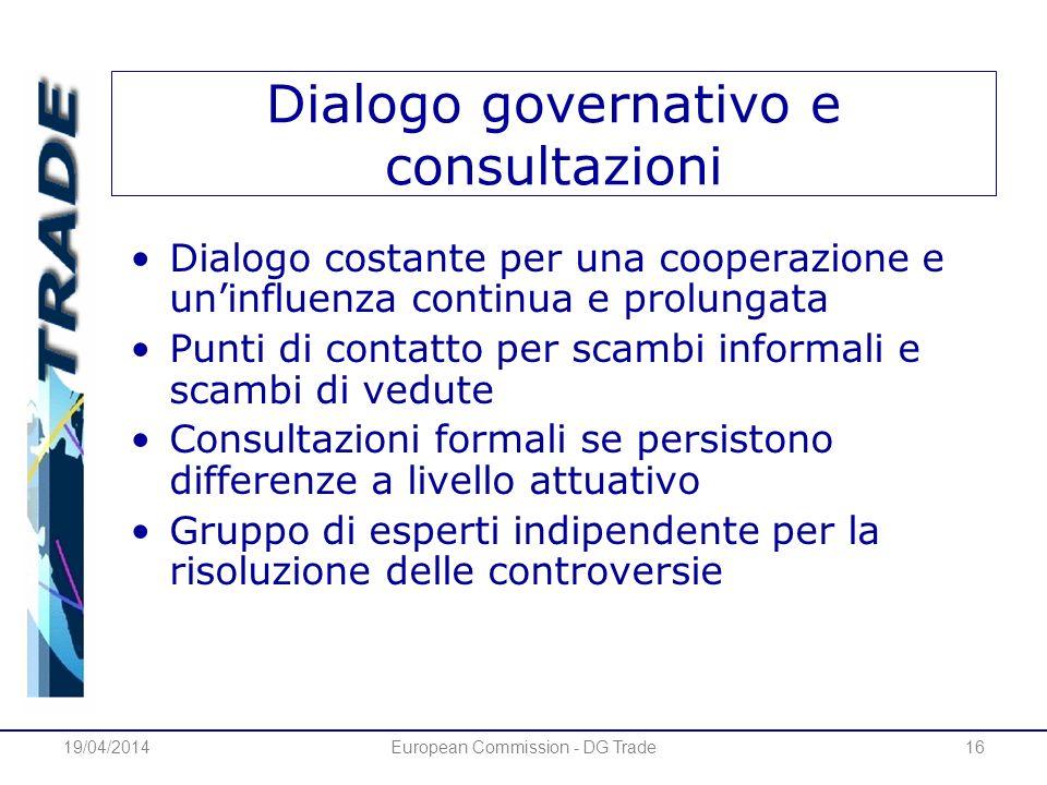 19/04/2014European Commission - DG Trade16 Dialogo governativo e consultazioni Dialogo costante per una cooperazione e uninfluenza continua e prolunga