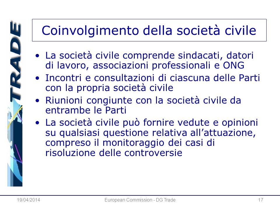 19/04/2014European Commission - DG Trade17 Coinvolgimento della società civile La società civile comprende sindacati, datori di lavoro, associazioni p