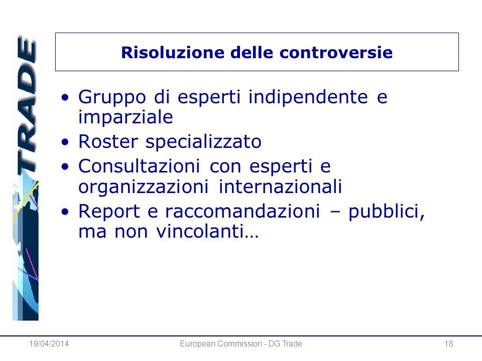 19/04/2014European Commission - DG Trade18 Risoluzione delle controversie Gruppo di esperti indipendente e imparziale Roster specializzato Consultazio