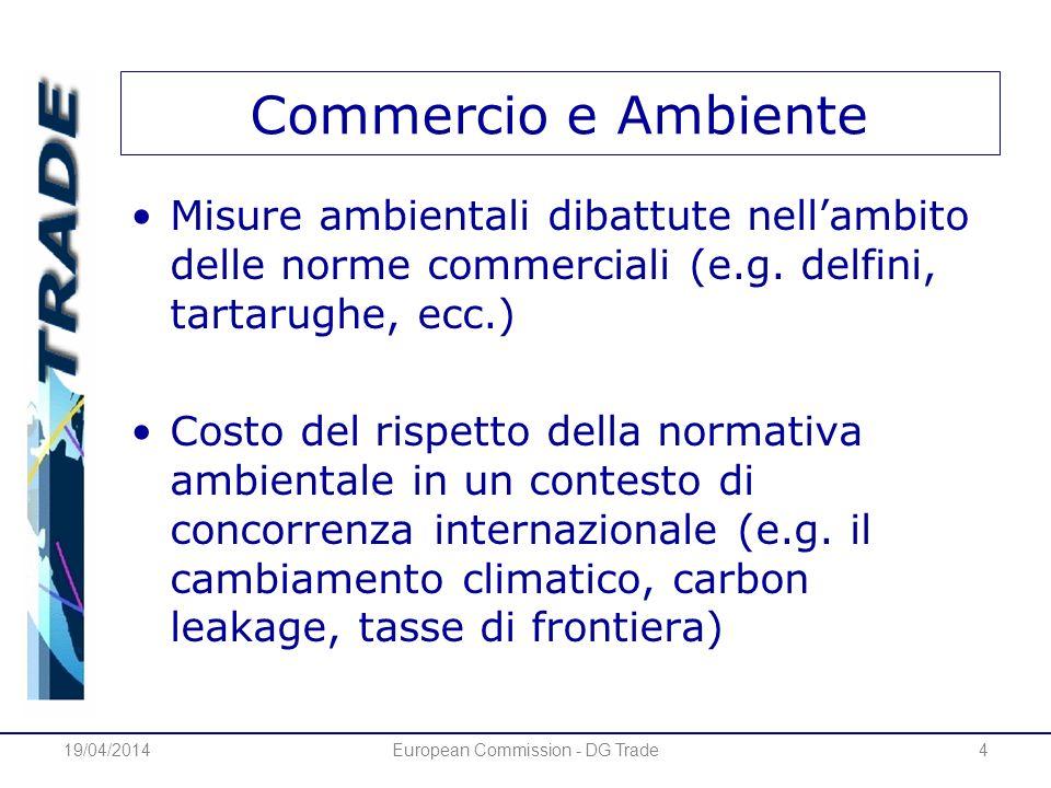 Commercio e Ambiente Misure ambientali dibattute nellambito delle norme commerciali (e.g. delfini, tartarughe, ecc.) Costo del rispetto della normativ