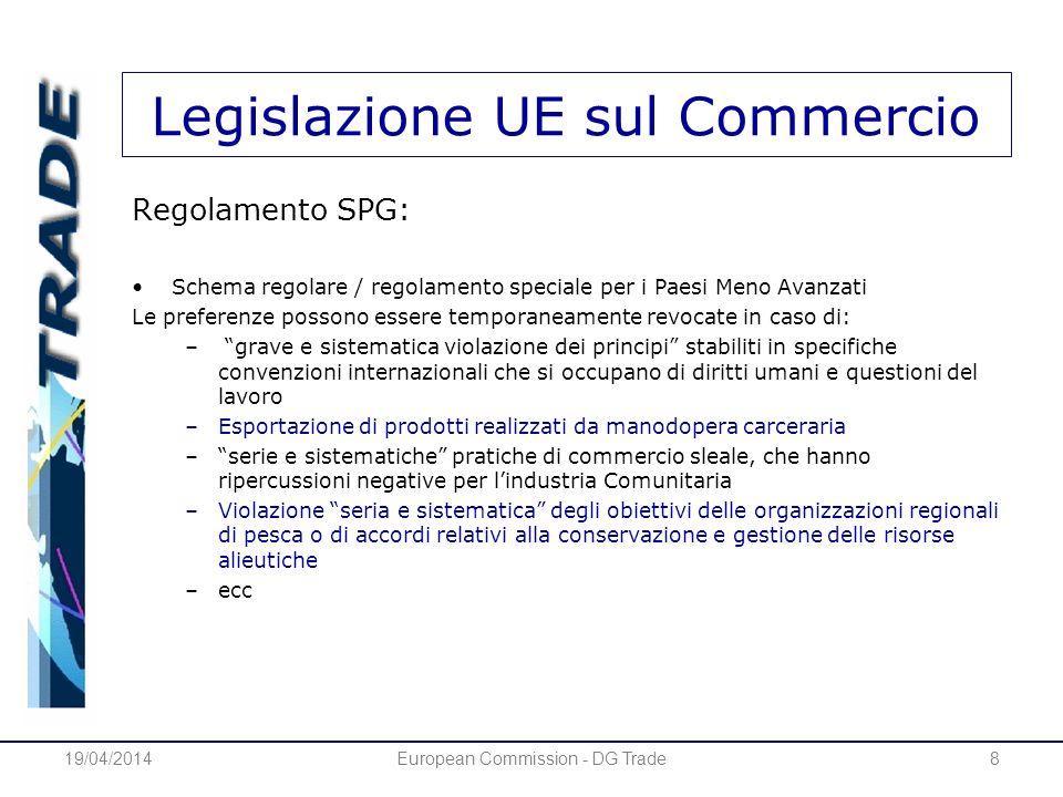 Legislazione UE sul Commercio Regolamento SPG: Schema regolare / regolamento speciale per i Paesi Meno Avanzati Le preferenze possono essere temporane