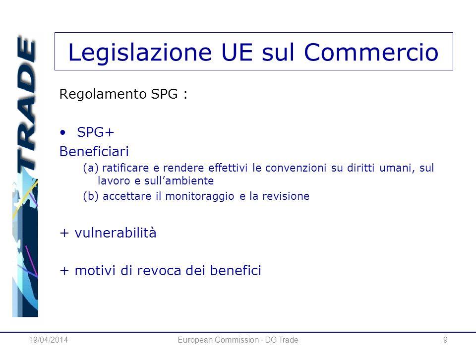 Legislazione UE sul Commercio Regolamento SPG : SPG+ Beneficiari (a) ratificare e rendere effettivi le convenzioni su diritti umani, sul lavoro e sullambiente (b) accettare il monitoraggio e la revisione + vulnerabilità + motivi di revoca dei benefici 19/04/2014European Commission - DG Trade9