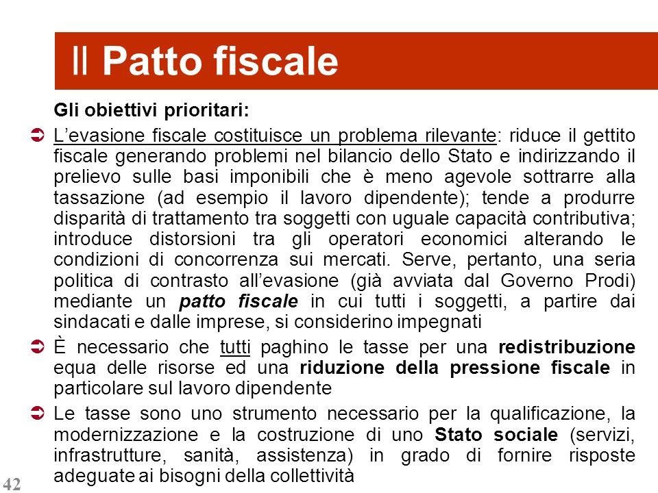 42 Gli obiettivi prioritari: Levasione fiscale costituisce un problema rilevante: riduce il gettito fiscale generando problemi nel bilancio dello Stat