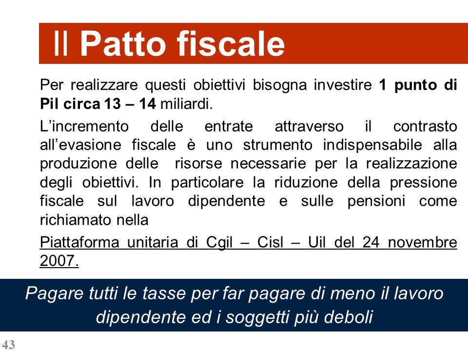 43 Il Patto fiscale Per realizzare questi obiettivi bisogna investire 1 punto di Pil circa 13 – 14 miliardi. Lincremento delle entrate attraverso il c
