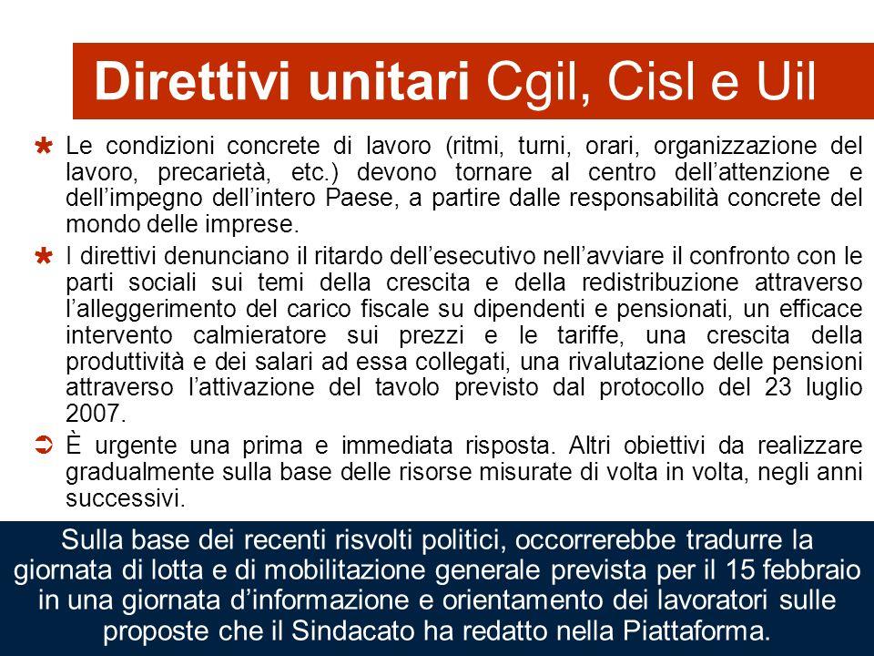 45 Direttivi unitari Cgil, Cisl e Uil Le condizioni concrete di lavoro (ritmi, turni, orari, organizzazione del lavoro, precarietà, etc.) devono torna