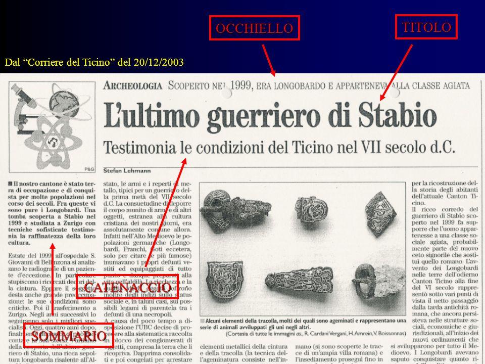 TITOLO OCCHIELLO CATENACCIO SOMMARIO Dal Corriere del Ticino del 20/12/2003
