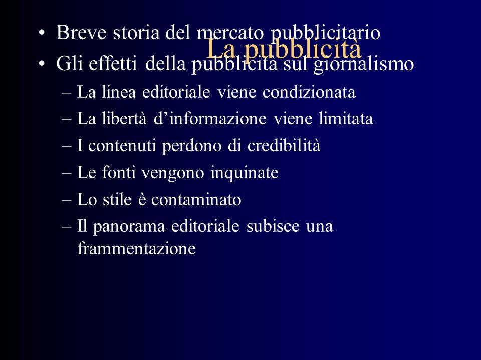 La pubblicità Breve storia del mercato pubblicitario Gli effetti della pubblicità sul giornalismo –La linea editoriale viene condizionata –La libertà