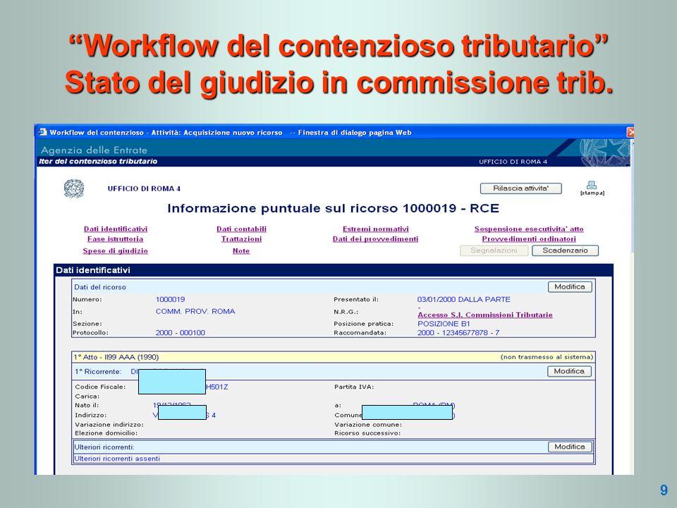Workflow del contenzioso tributario Stato del giudizio in commissione trib. 9