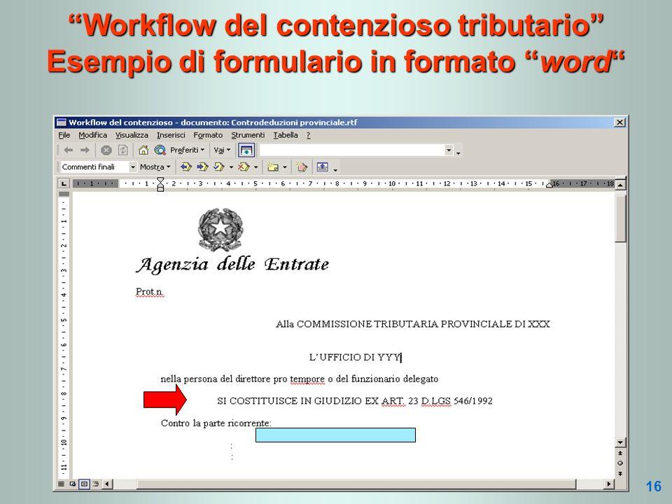 Workflow del contenzioso tributario Esempio di formulario in formato word 16