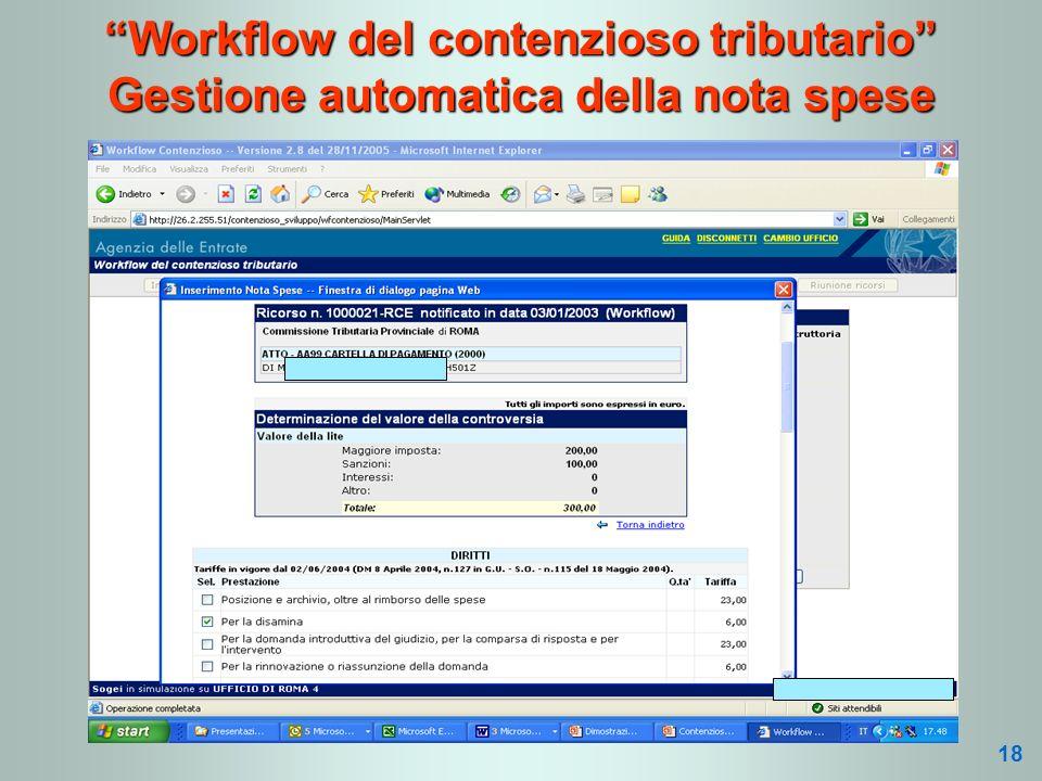 Workflow del contenzioso tributario Gestione automatica della nota spese 18