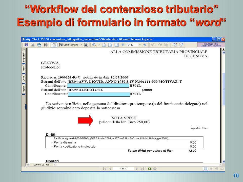 Workflow del contenzioso tributario Esempio di formulario in formato word 19
