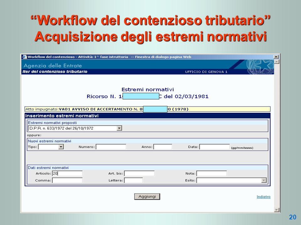 Workflow del contenzioso tributario Acquisizione degli estremi normativi 20
