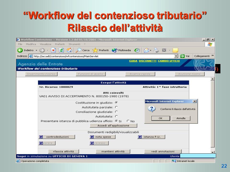 (3 di 3) Workflow del contenzioso tributario Rilascio dellattività 22