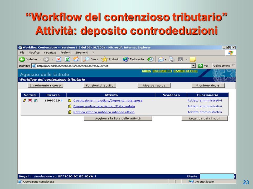 Workflow del contenzioso tributario Attività: deposito controdeduzioni 23