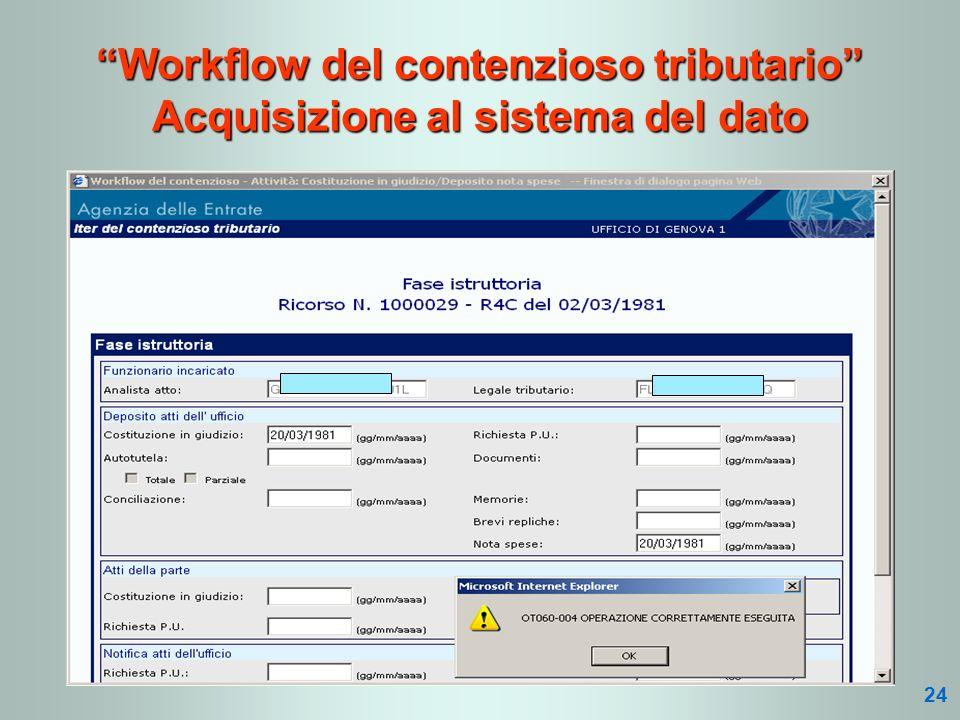 Workflow del contenzioso tributario Acquisizione al sistema del dato 24